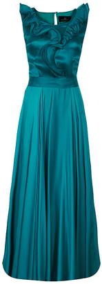 Carolina Herrera Green Ruffle Silk Gown M