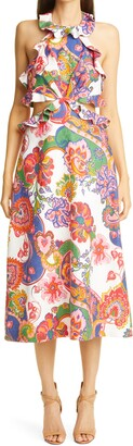 Zimmermann Lovestruck Floral Paisley Tie Back Midi Dress