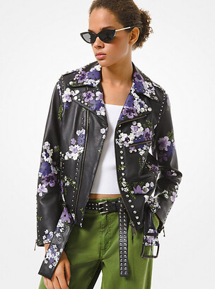 Michael Kors Floral Embroidered Leather Moto Jacket