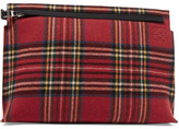 Loewe T Leather And Tartan Felt Pouch - Red