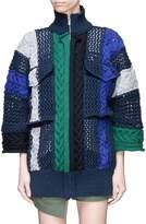 Sacai Mixed knit patchwork zip cardigan