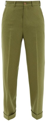 Gucci Speckled Wide-leg Wool-blend Trousers - Mens - Green