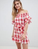 Asos Design DESIGN off shoulder frill detail beach dress in red gingham