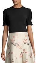 Co Mock-Neck Short-Sleeve Cotton-Knit Top