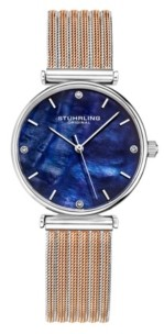Stuhrling Original Women's Rose Gold - Silver Tone Mesh Stainless Steel Bracelet Watch 32mm