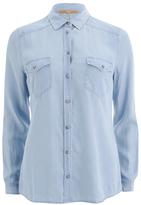BOSS ORANGE Women's Crop Denim Shirt Blue