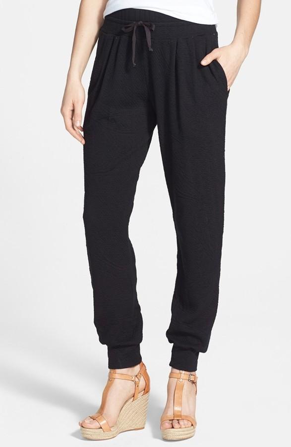 Three Dots Banded Cuff Textured Sweatpants