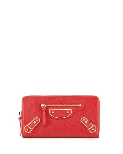 Balenciaga Metallic Edge Zip-Around Wallet, Red