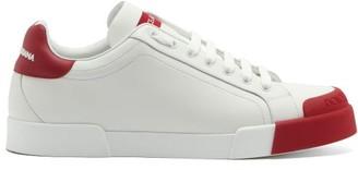 Dolce & Gabbana Portofino Rubber-toe Leather Trainers - White Multi