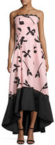 Sachin + Babi Strapless Floral Faille High-Low Gown, Light Pink