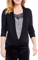 I.N. Studio Faux Wrap Front Print Inset Layered Sweater