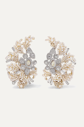 Bina Goenka 18-karat Gold, Pearl And Diamond Earrings - one size