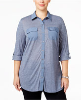 Style&Co. Style & Co. Plus Size Mixed-Media Utility Shirt, Only at Macy's