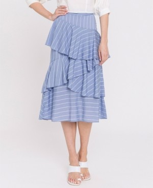 Endless Rose Pin Striped Asymmetrical Ruffled Skirt