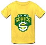 JESSICO Kid's Cotton Custom Seattle Supersonics Logo T Shirt