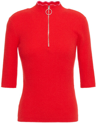 Maje Misty Zip-detailed Ribbed Cotton-blend Top