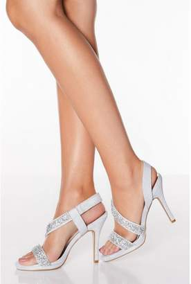 Quiz Silver Diamante Asymmetrical High Heel Sandals