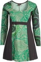 Aller Simplement Green & Brown Paisley Empire-Waist Dress - Plus Too