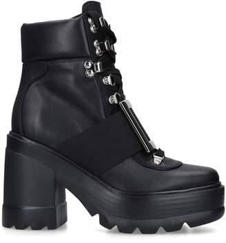 Roger Vivier Leather Platform Lace-Up Boots