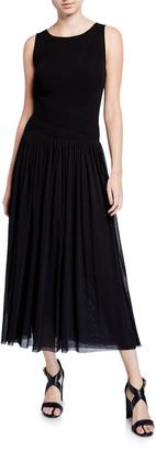 Fuzzi Sleeveless Wrap Waist Full Skirt Long Dress