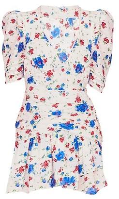 LoveShackFancy Arlo Puff-Sleeve Floral Mini Dress