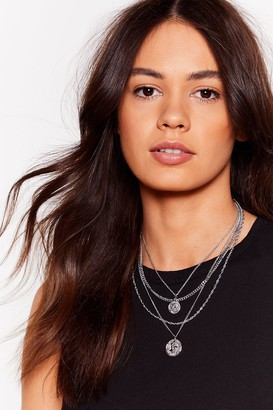 Nasty Gal Womens Toss a Coin Layered Chain Necklace - Grey - One Size