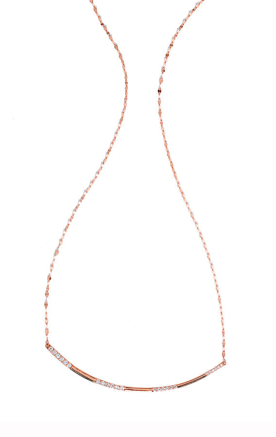 Lana Expose Flawless Diamond Bar Necklace in 14K Rose Gold