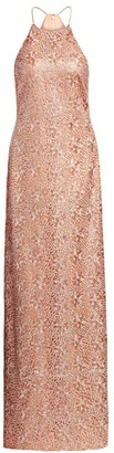 Halston Embroidered Metallic Halterneck Column Gown