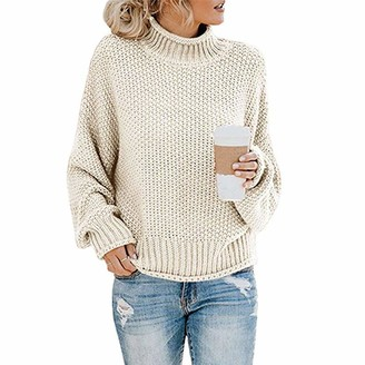 Sanfo Women's Turtleneck Jumpers Casual Batwing Sweaters Long Sleeve Pullover Loose Chunky Knitted Jumper Tops