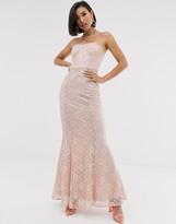 Asos Design DESIGN foil lace bandeau maxi dress