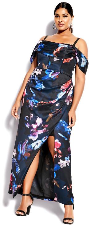 City Chic Opulent Floral Maxi Dress - black
