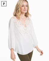 White House Black Market Petite Laser-Cut Cotton-Blend Blouse