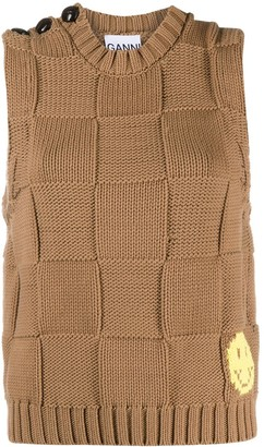 Ganni Square-Knit Vest