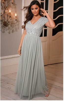 Sistaglam Luxe Lillis Sage Green Cap Sleeved Embellished Lace Maxi Dress