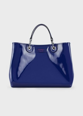 Emporio Armani Myea Bag Shopper In Patent Leather