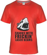 Eagle u2 Men's cool T shirts Sharks with frickin laser beams austin powers red