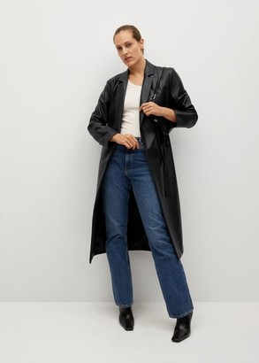 MANGO Belt leather-effect coat