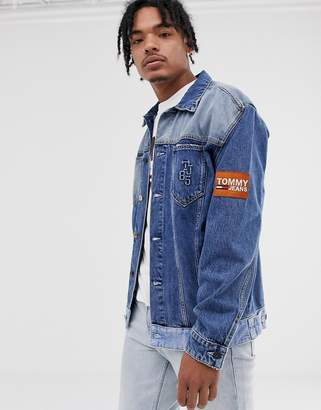 Tommy Jeans oversize trucker jacket with contrast hem and sleeve badge in mid wash-Blue