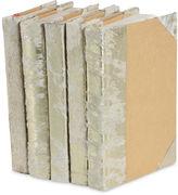 One Kings Lane S/5 Metallic Hide Books, White/Gold