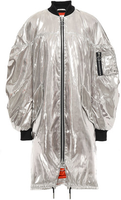Marques Almeida Oversized Ruched Metallic Shell Bomber Jacket