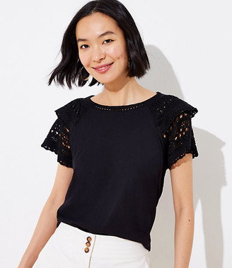 LOFT Crochet Flutter Top