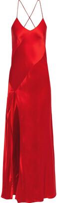 Mason by Michelle Mason Open-back Paneled Silk-charmeuse Gown