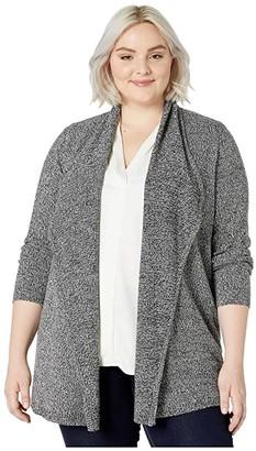 Karen Kane Plus Plus Size Drape Front Cardigan (Black/White) Women's Sweater