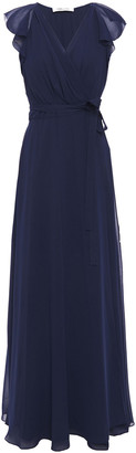 Diane von Furstenberg Eldridge Ruffled Georgette Maxi Wrap Dress