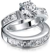 Bling Jewelry 925 Silver 2ct CZ Round Princess Engagement Wedding Ring Set