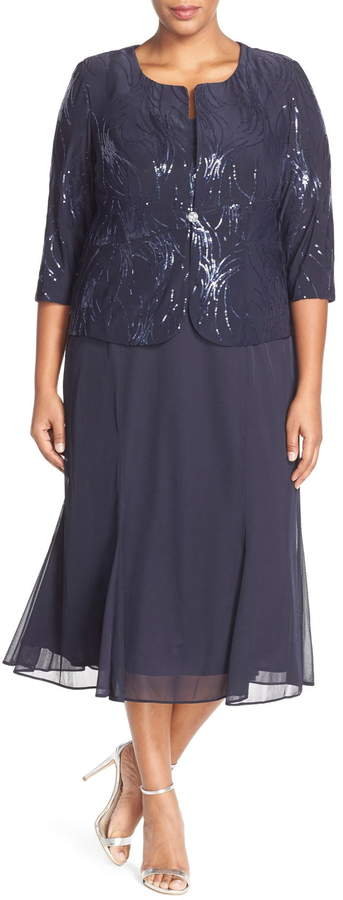 007159b5df0 Sequin Mock Two-Piece Dress with Jacket