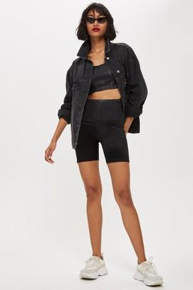 Topshop Womens Petite Disco Cycling Shorts - Black