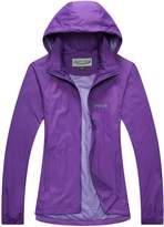 Green Crab Women's Windproof Waterproof Rain Jacket Lady Hooded Breathable Coat