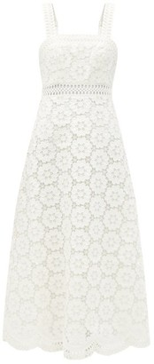 Zimmermann Bells Linen-blend Guipure-lace Midi Dress - Ivory