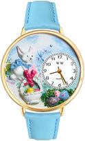 Whimsical Watches Personalized Easter Egg Womens Gold-Tone Bezel Light Blue Leather Strap Watch